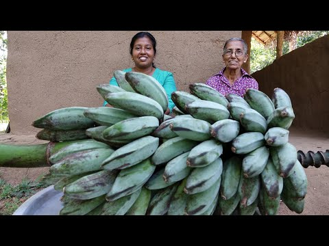 Ash Plantain Fingers | Spicy Cooking Banana Sticks By Village Life Grandma And Daughter
