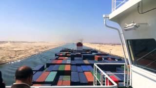 حصريا شاهد قناة السويس الجديدة من على أكبر حاملة حاويات فى العالم