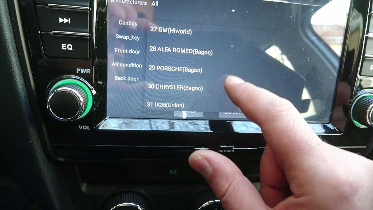 Witson A5520 CAN BUS protocol change in Factory settings