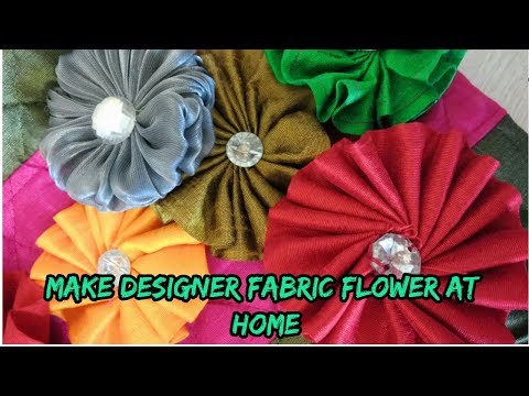 designer fabric flower make at home/how to make fabric flower/