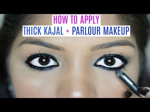 HOW TO APPLY Parlour Makeup & Thick Kajal Tutorial At Home| SuperPrincessjo