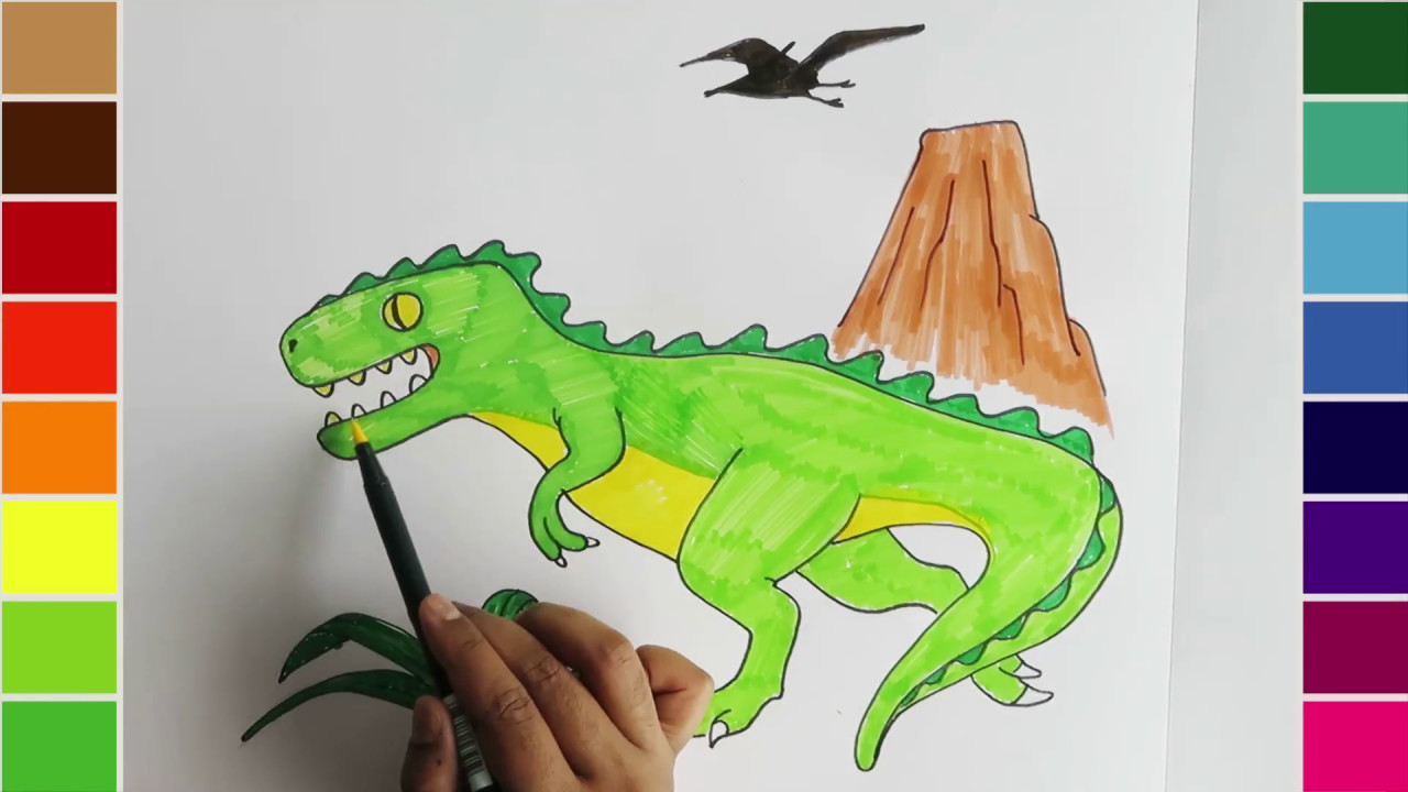 Learn Coloring For Kids Draw And Color A Dinosaur T Rex Youtube