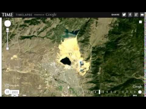 Berkeley Pit, Butte, Montana Time Lapse 1984-2012 (from Google/Time Magazine)