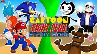 Cartoon Fight Club STORY MODE! Poster Boy Free for All! (Sonic vs Mario, Sans, Freddy, Bendy, Goku)
