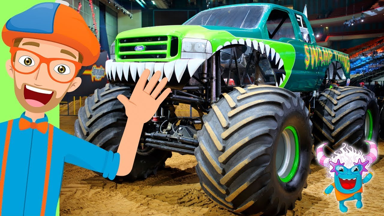 Blippi Plays With Monster Trucks Rc Inspired Toy For Children Youtube