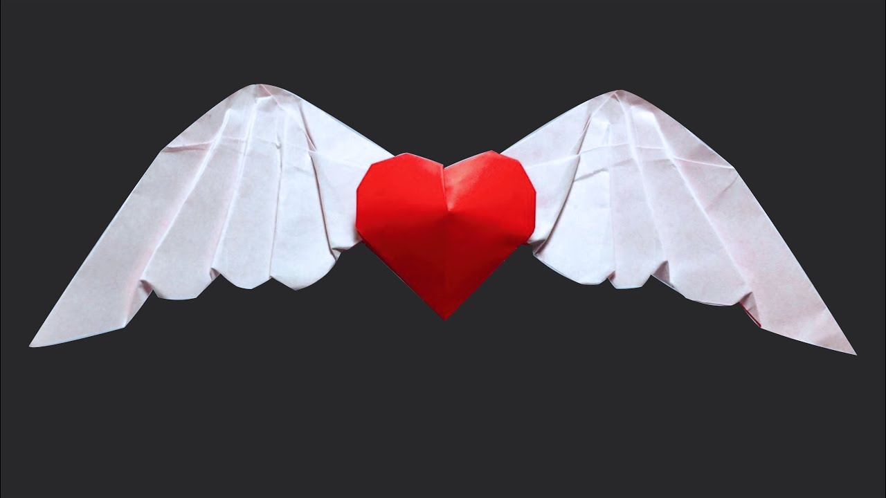 3D Heart Origami Angel 20 Wing By PaperPh2