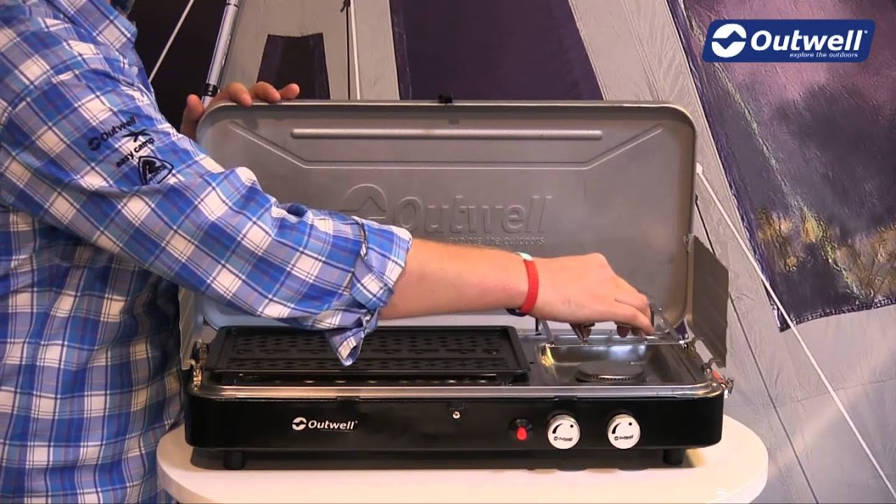outwell chef cooker 2 burner stove with grill | innovative family
