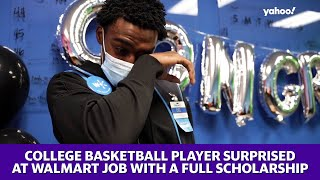 College basketball player surprised at Walmart job with a full scholarship