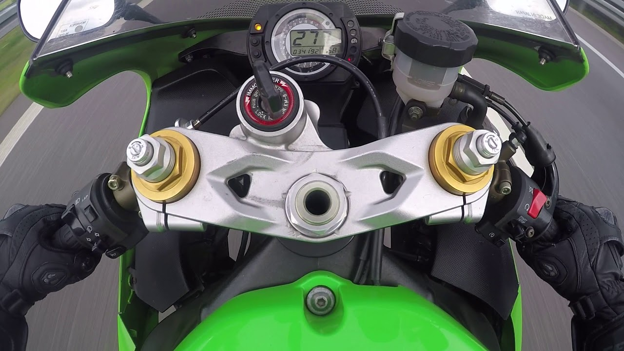 Kawasaki ZX6R 636 2005 highway TOPSPEED - YouTube