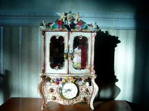 """The Garden House of Fairies and Music"" Altered Art Jewelry Ballerina Clock Music Box"