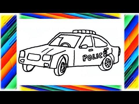 Dibuja y Colorea Carro de Policía - Dibujos Para Niños - YouTube