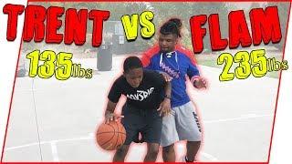 Scrawny High Schooler vs Semi Pro Linebacker 1v1 Basketball Game!