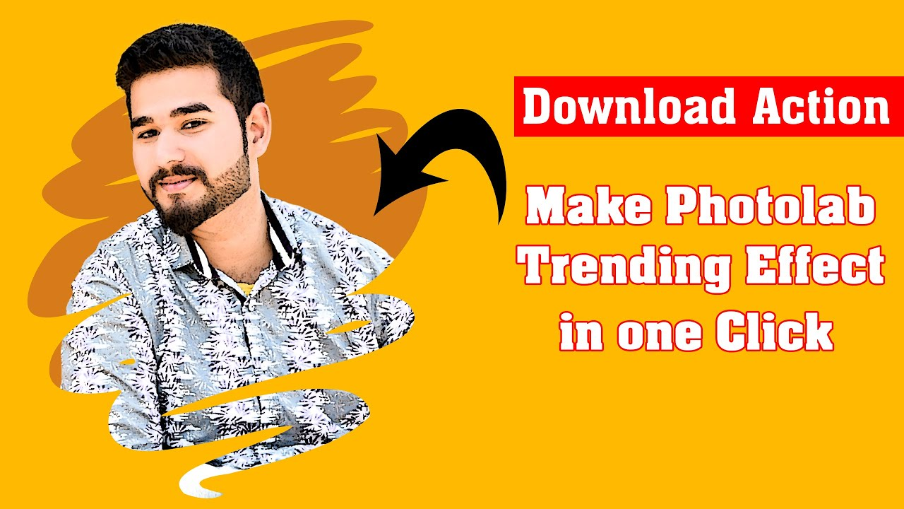 Make Trending Photolab Effect in 1 Click in Photoshop |Download Action & Shape| Urdu/Hindi