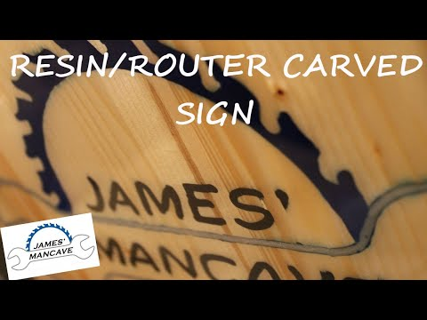 Router Carved And Epoxy Resin logo sign #21