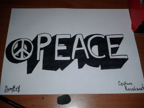 how to draw PEACE in 3D
