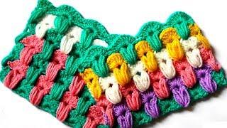 Разноцветный узор с пышными столбиками