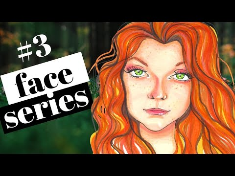 How to DRAW & SHADE a Whimsical Scottish Face with Freckles in Copic Markers | Whimsical Women #3