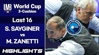 [World Cup 3-Cushion Porto 2018] Last 16 - Semih SAYGINER (TUR) vs Marco ZANETTI (ITA). H/L