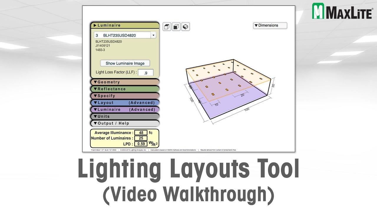 Maxlite S Lighting Layouts Tool Video Walkthrough