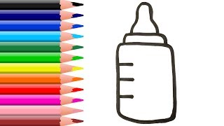 Toy Baby Milk Bottle coloring and drawing Learn Colors for Kids, Children