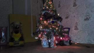 Дед мороз кладет подарки под елку