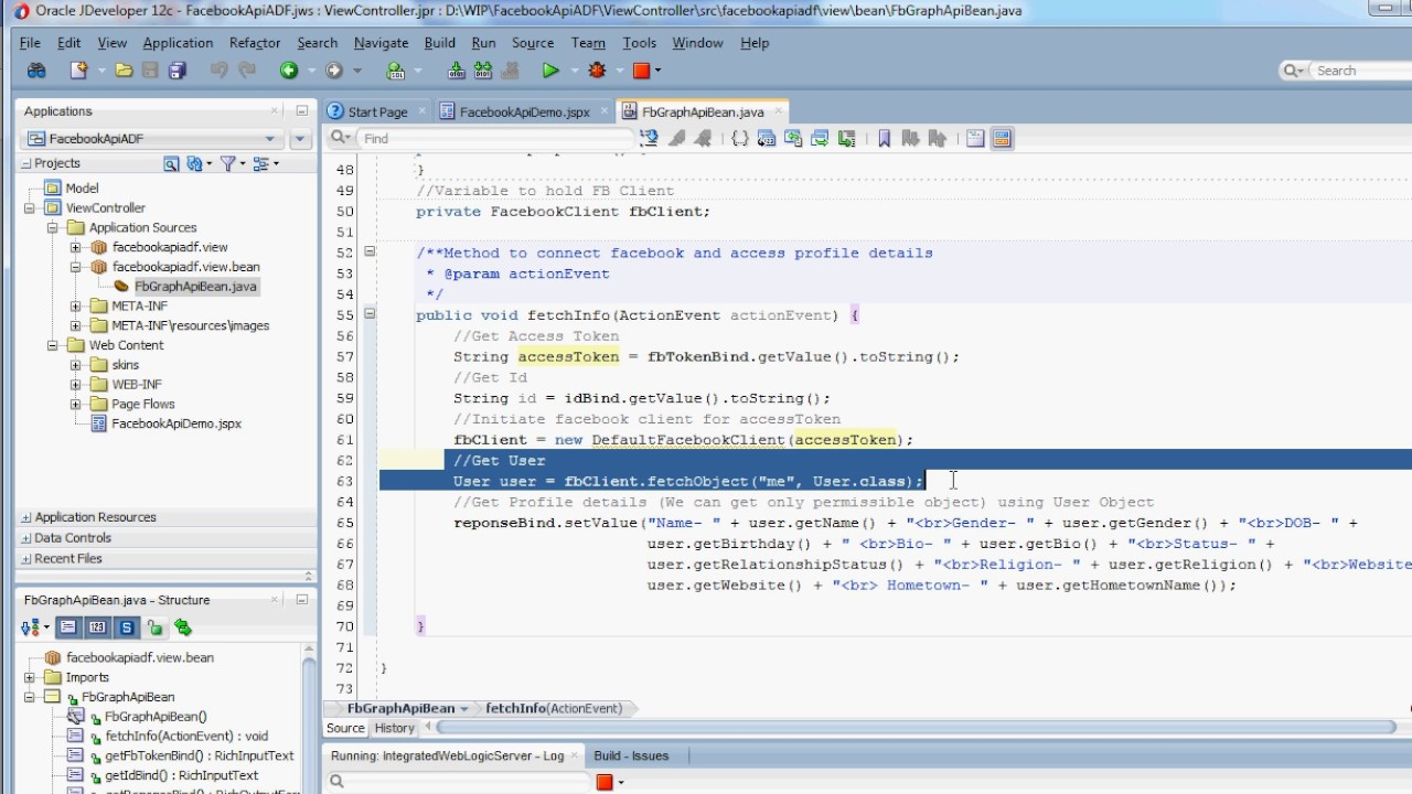 Get Facebook Profile using restfb Graph API in Java & Oracle ADF