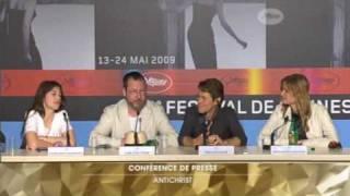 Charlotte Gainsbourg, W. Dafoe, L. von Trier -- [funny] Antichrist press conference -- part 2/2