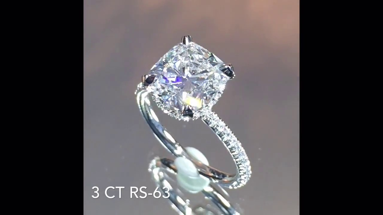 Carat cushion cut diamond engagement ring thin band youtube - 3 Carat Cushion Cut Diamond Engagement Ring Youtube Bullmastiffo Images