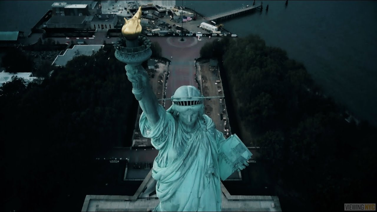 above new york statue of liberty and liberty island youtube