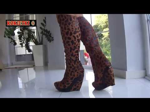 eb8e6108655b2 KOZAKI CAMEL PANTERKA BRĄZOWO CZARNE KOTURNY RMD611 - YouTube