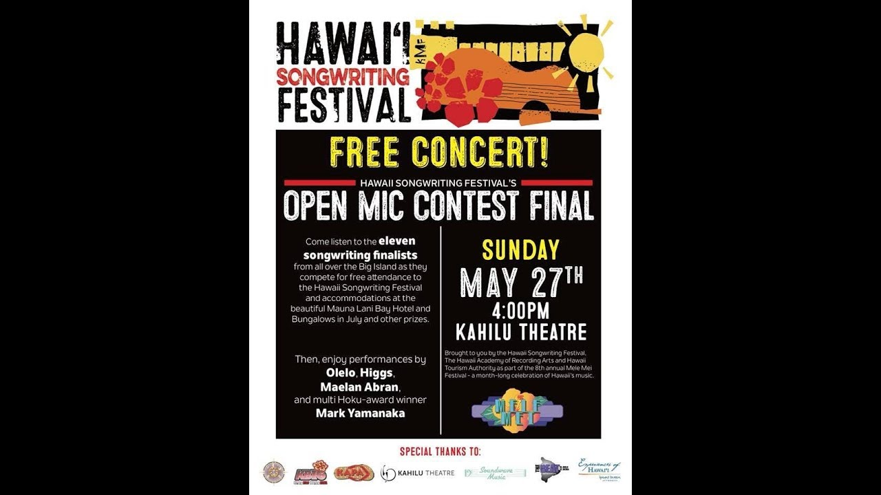 Hawaii Songwriting Festival Free Concert May 27, 2018