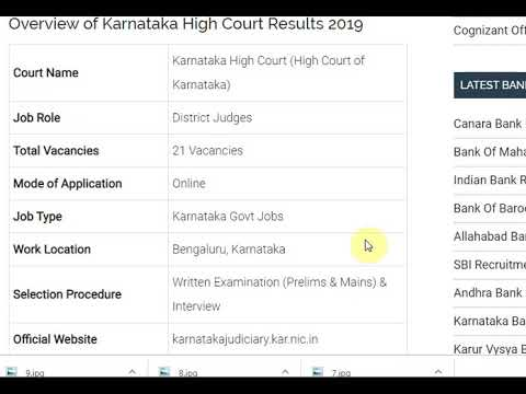 Karnataka High Court Results 2019 | KHC District Judge Cutoff Marks, Mer...
