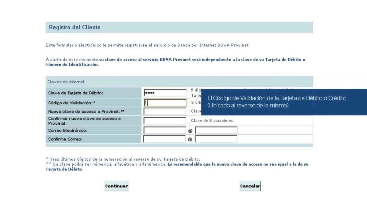 Eres nuevo usuario de bbvaprovincial reg strate en for Telefono registro bienes muebles madrid