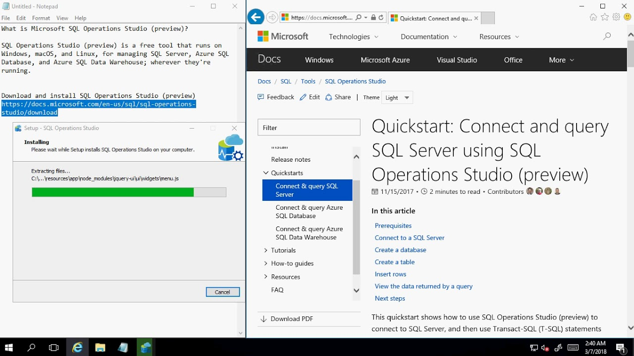Download and install SQL Operations Studio (preview)
