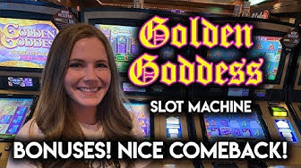 Golden Goddess Slot Machine! BONUSES! NICE COMEBACK!!