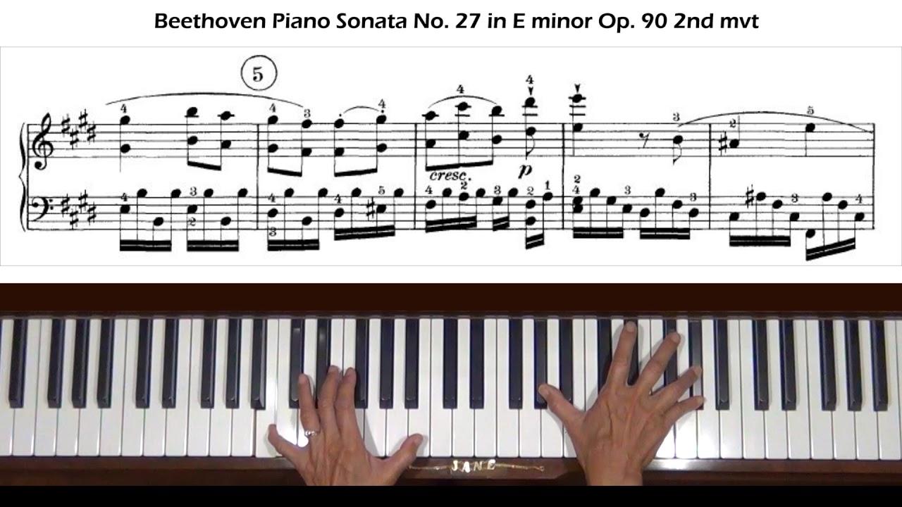 Beethoven Piano Sonata No  27 in E minor Op  90 2nd mvt Piano Tutorial (a  taste)