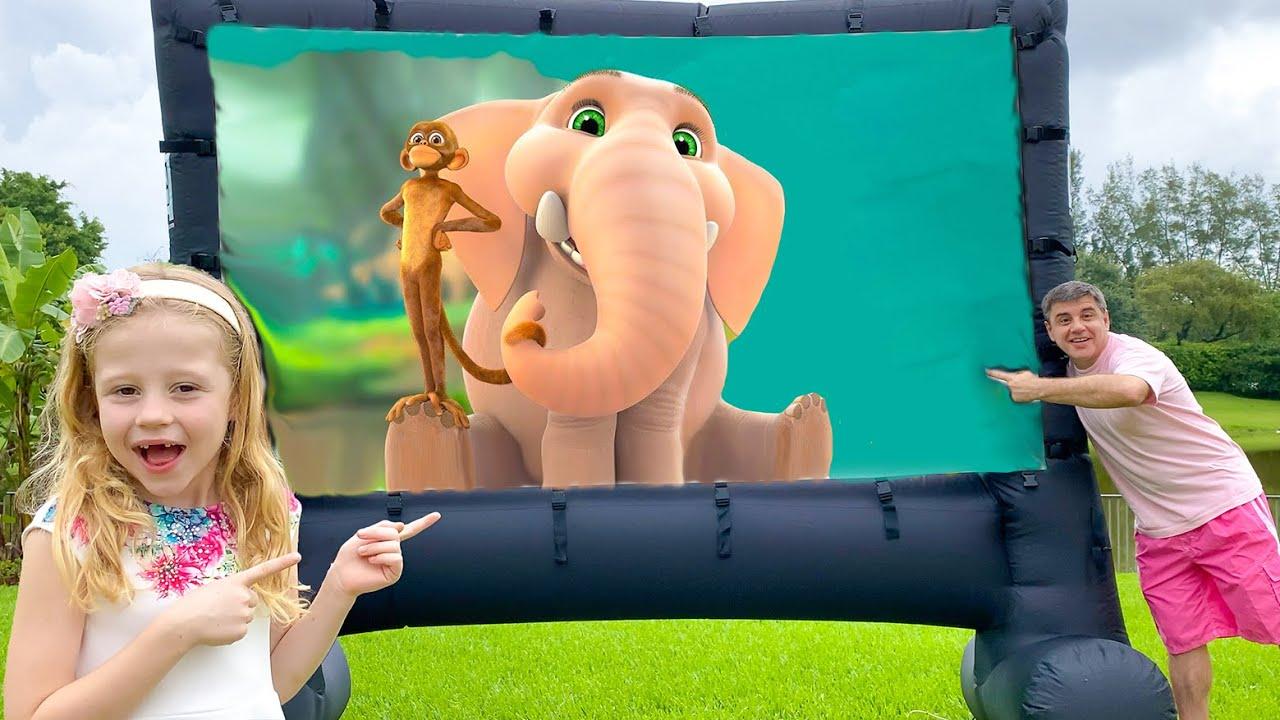 Nastya e seu pai vão assistir seu filme favorito Jungle Beat