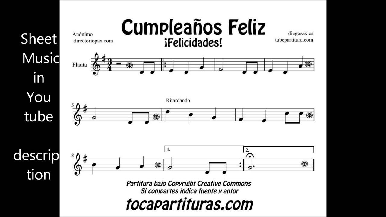 Happy Birthday Sheets Music for flute violin sax trumpet clarinet viola  oboe trombone cello