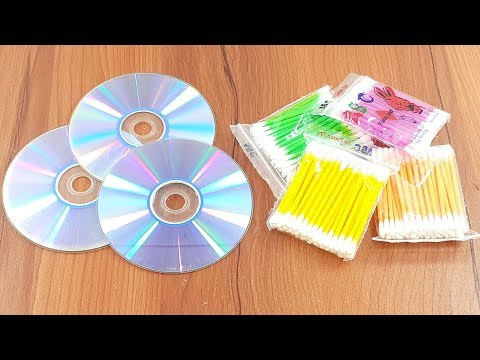 Recycling cd disc & Cotton buds crafting   Waste material reuse idea   Diy Craft