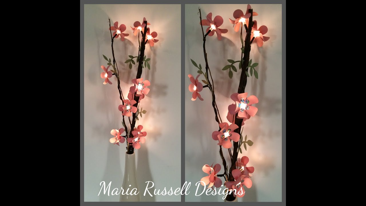 Diy Lighted Branch With Paper Flowers Youtube