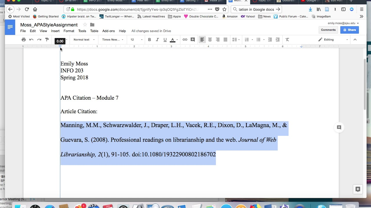 hanging indent citation in apa format tutorial google docs youtube