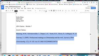 Hanging Indent Citation iฑ APA Format Tutorial (Google Docs)