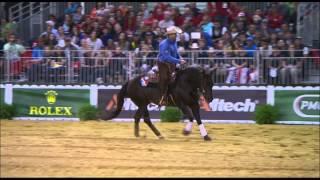 Franck Perret, équipe de France de reining, pendant les jeux équestres mondiaux.
