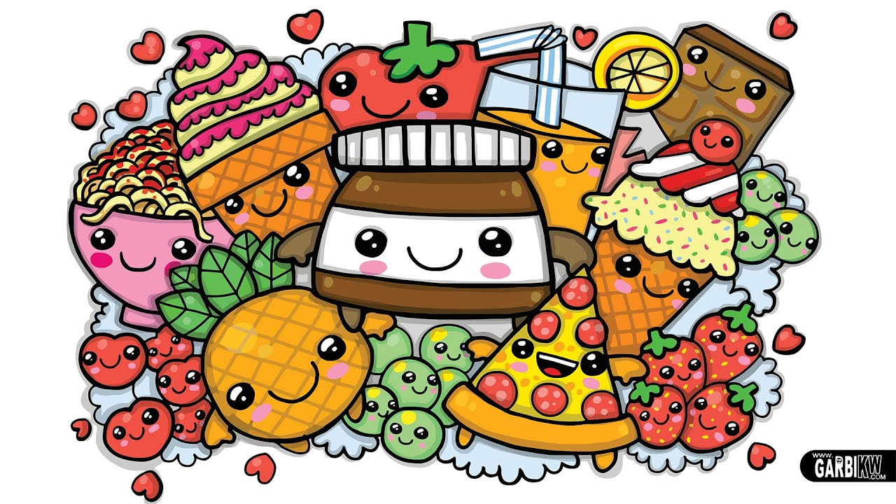 Colouring a cute Nutella and Kawaii Food cute Graffiti