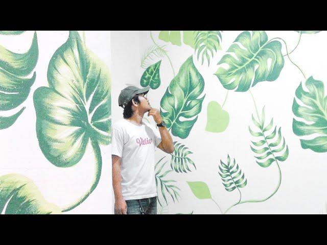Mural Dinding Daun Tropis Dekoratif