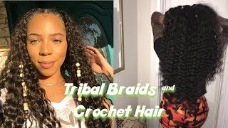 EASY Tribal Braids & Beads | Curly Crochet Hairstyle Tutorial | Dalva Ultima hair