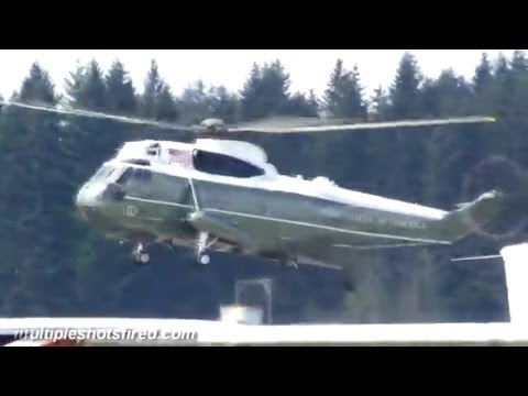 President Obama lands at Arlington, WA airport Marine One