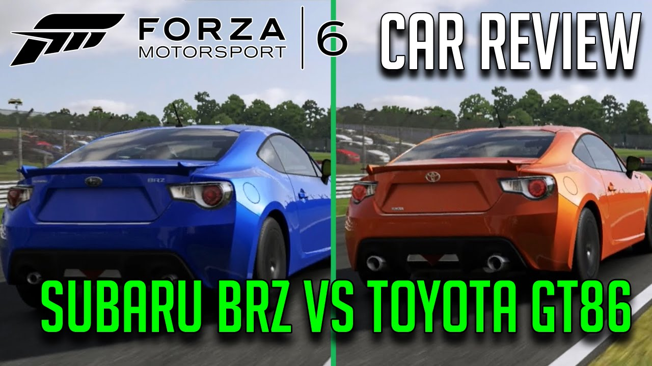 subaru brz vs toyota gt86 forza 6 car review comparison youtube. Black Bedroom Furniture Sets. Home Design Ideas