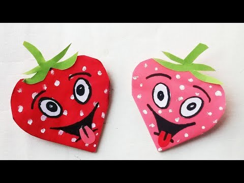 Easy Paper Strawberry bookmarks