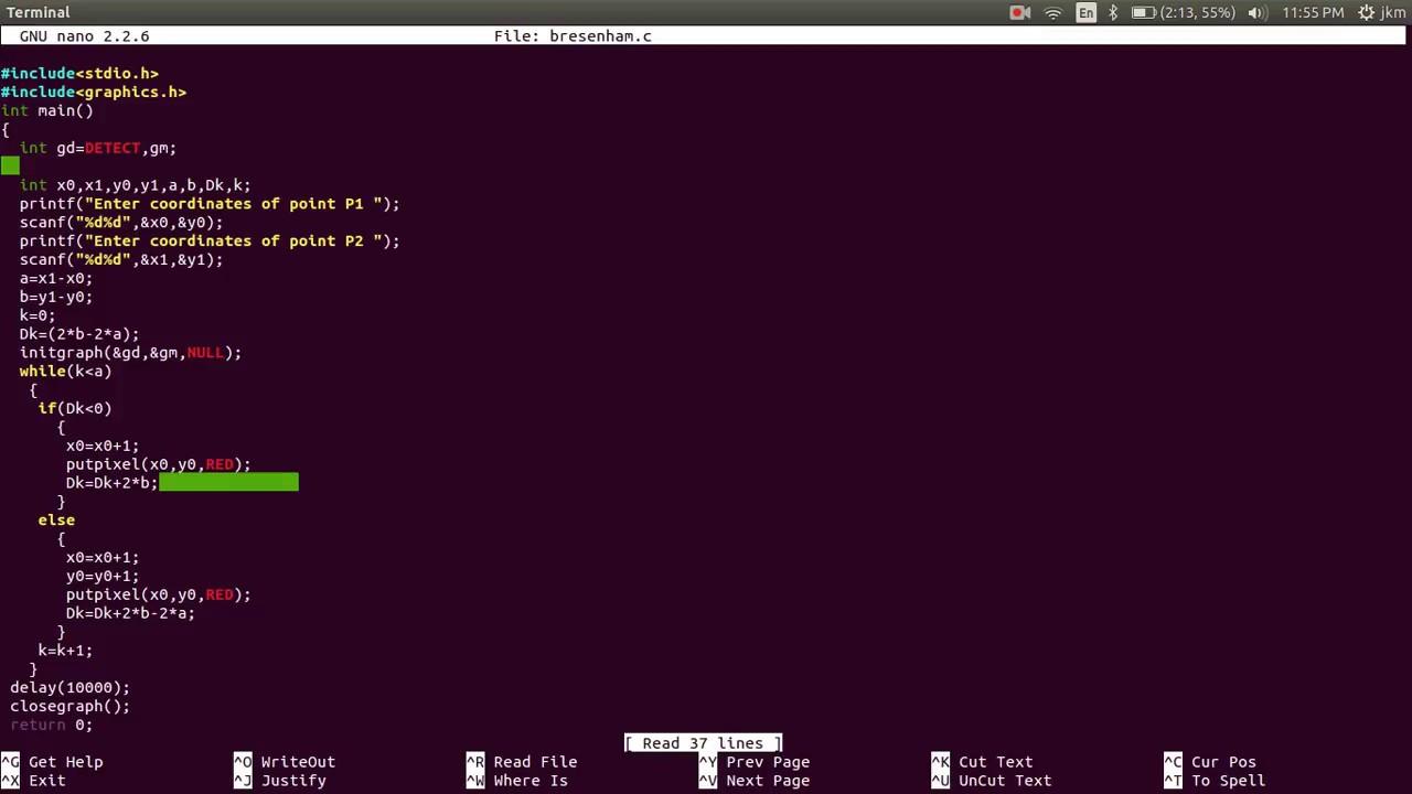 Bresenham line drawing program using graphic library compile in ubuntu